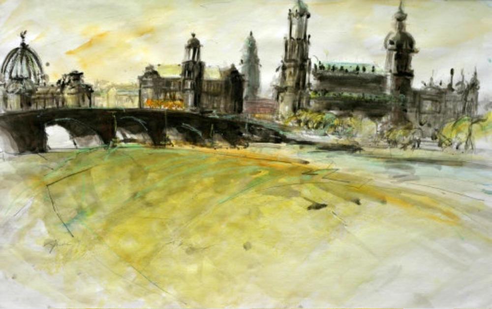 Dresden, Canalettoblick ohne Frauenkirche