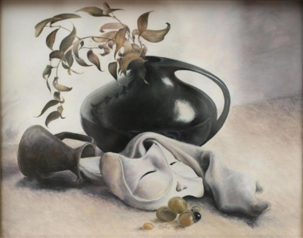 Stillleben mit Trauben und Maske