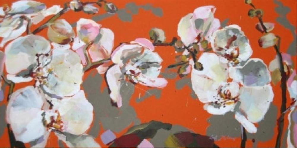 Weiße Orchideenblüten (Detail)
