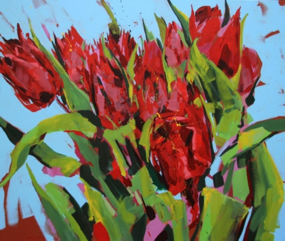 Frühlingsbouquet rote Tulpen