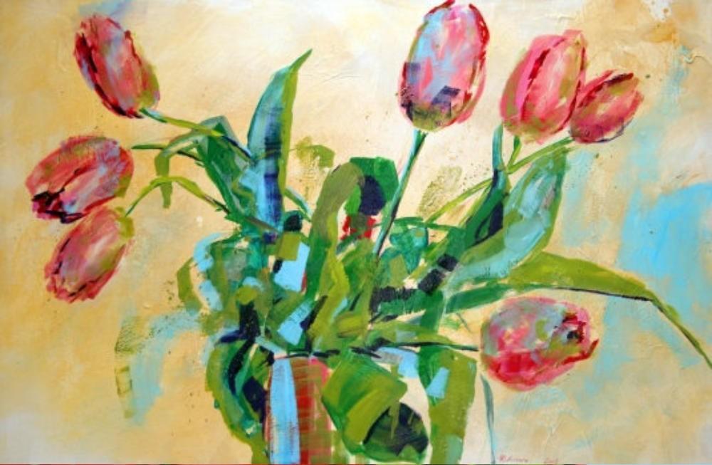 Großer Tulpenstrauß, lachsfarben