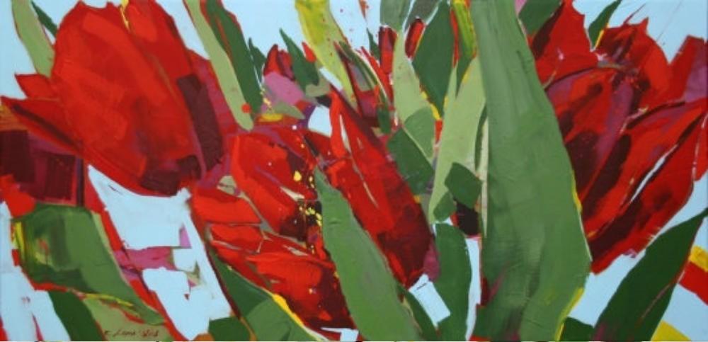 Rote Tulpen am Aufblühen
