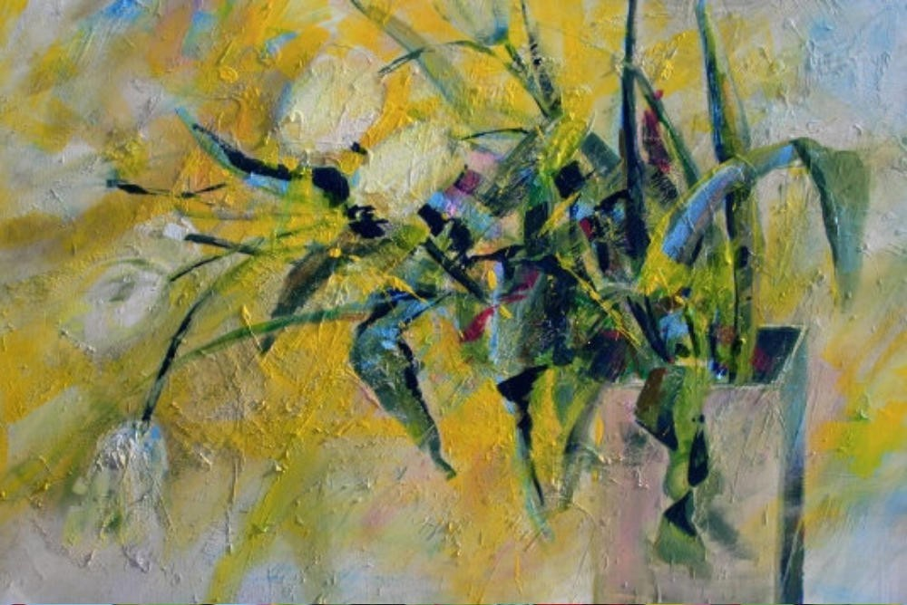 Zart-gelbe Tulpen in der Vase