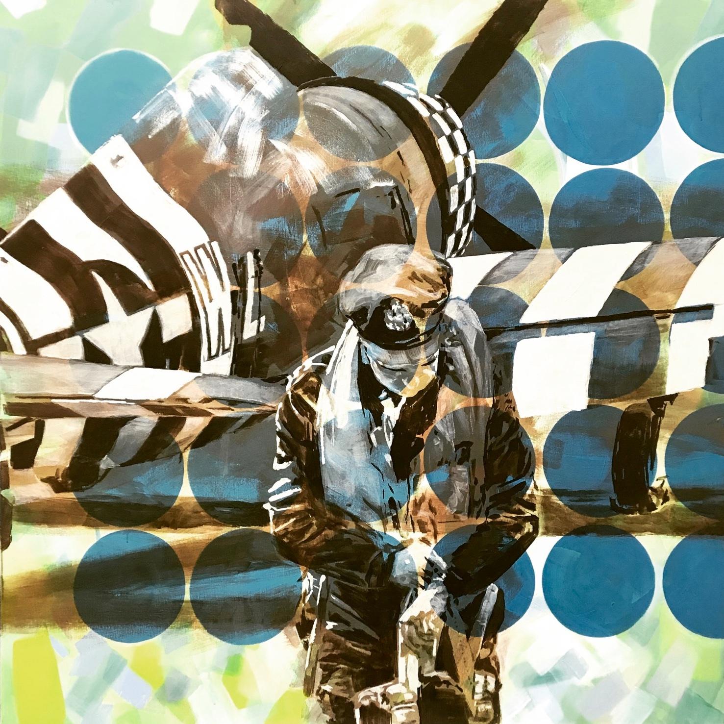 Mann blickt auf Uhr vor Flugzeug