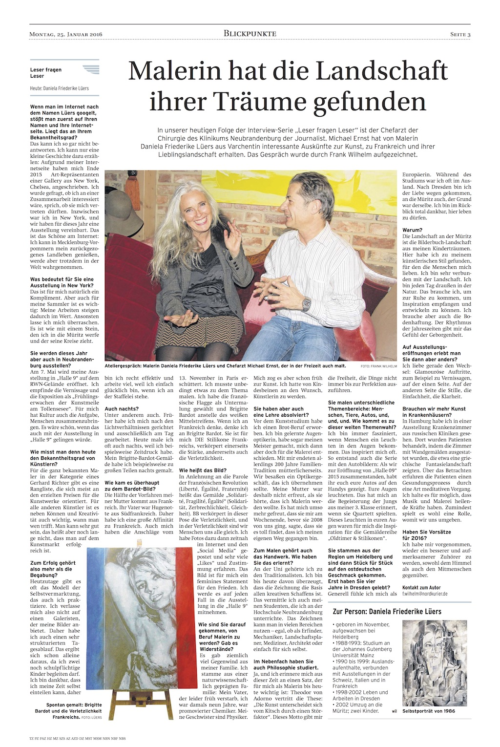Interview Nordkurier Januar 2016