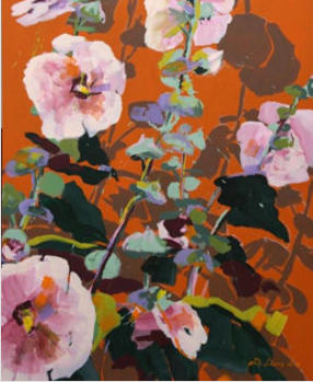 Roseefarbene Malven auf terra-orangem Grund I