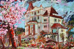 Villa Metz und Kirschblüten